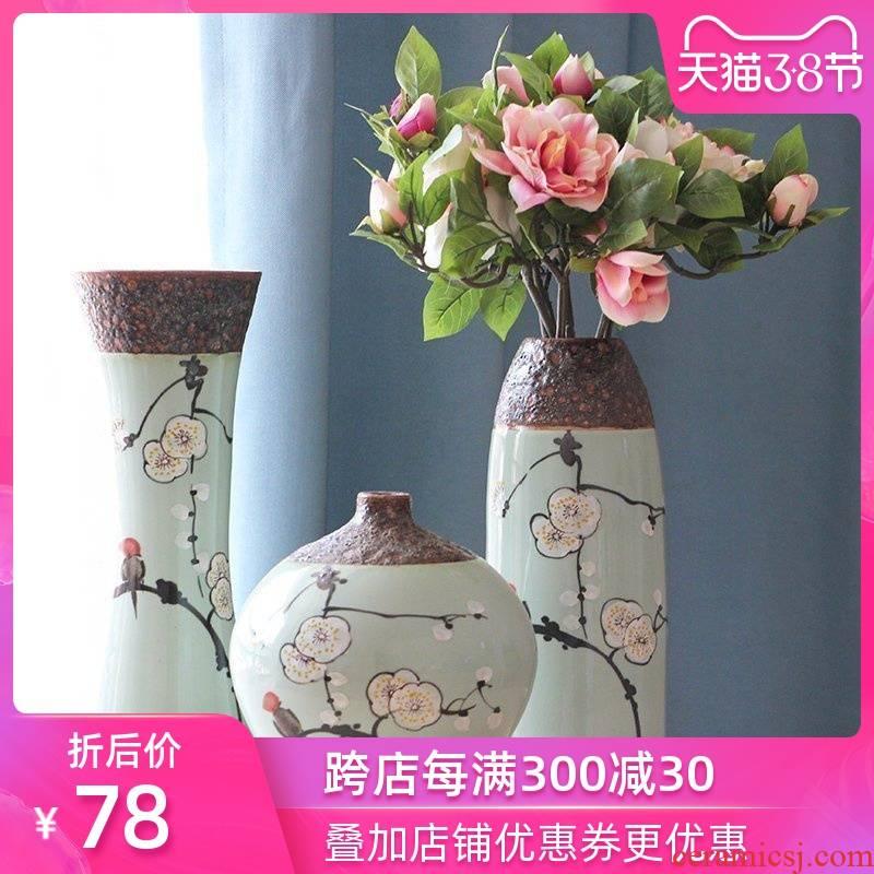 Art show contracted rural elegant hand - made ceramic vase suit jingdezhen porcelain desktop furnishing articles in the living room