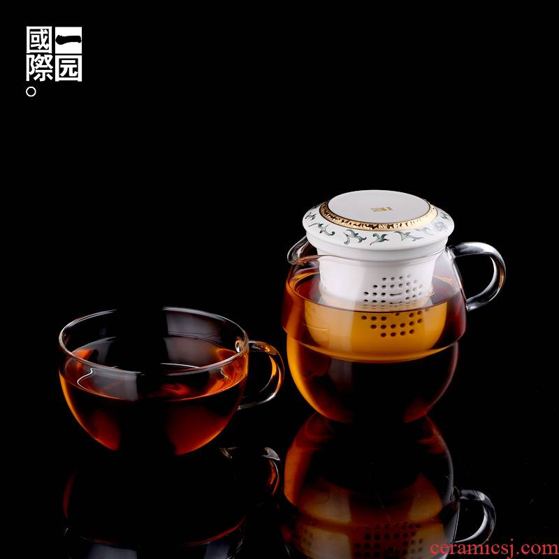 A garden international travel tea set of ceramic glass creative teapot tea set gift of A complete set of tea cups