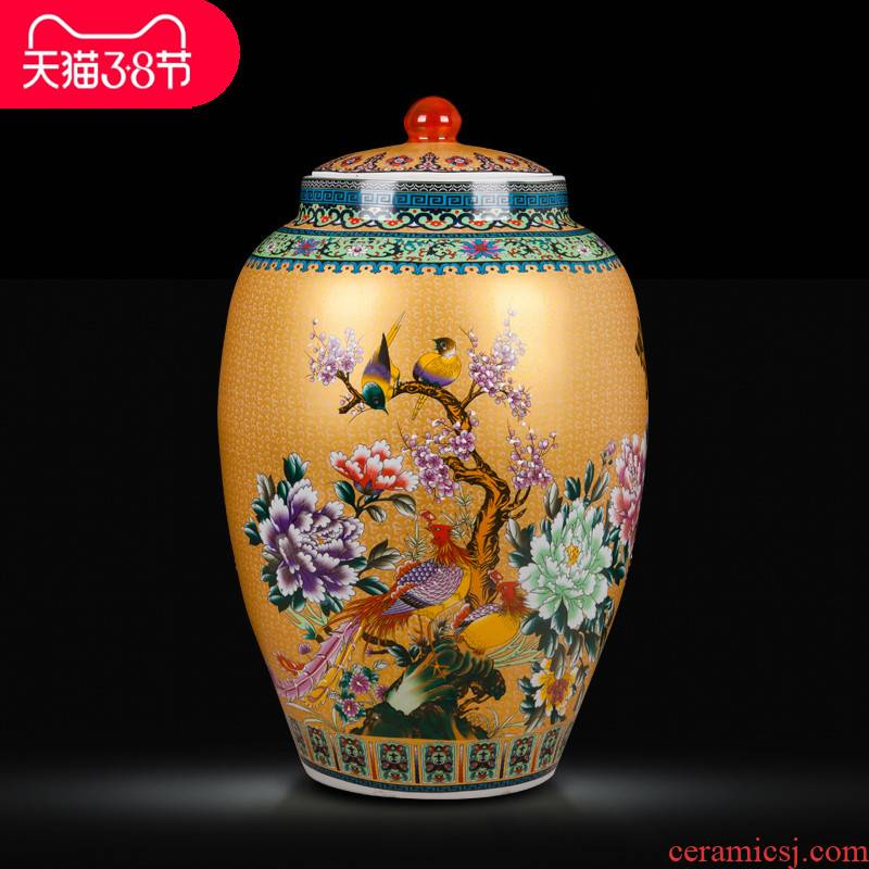 Jingdezhen ceramics handicraft big vase European household multi - functional storage tank barrel furnishing articles ornament