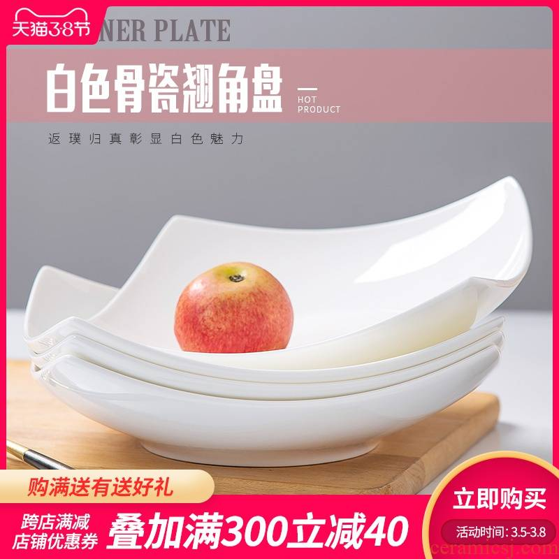 Pure white ipads porcelain jingdezhen 4/6/10 a suit creative household European contracted newborn ceramic deep dish plate