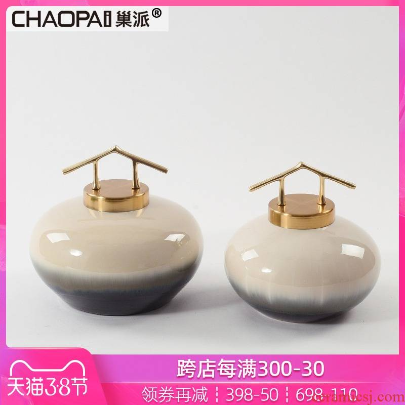 New Chinese style gradient beige ceramic pot furnishing articles creative background wall shelf rich ancient frame interior porch decoration