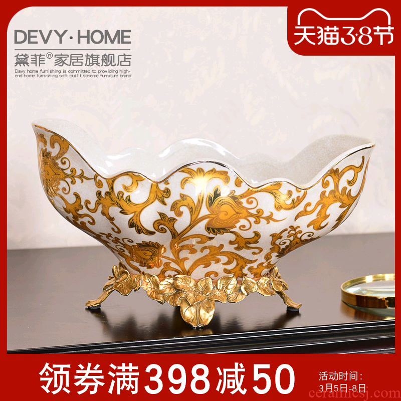 American key-2 luxury European ceramic metal fruit tray was tall sitting room of the new Chinese style home furnishing articles dried fruit bowl tea table