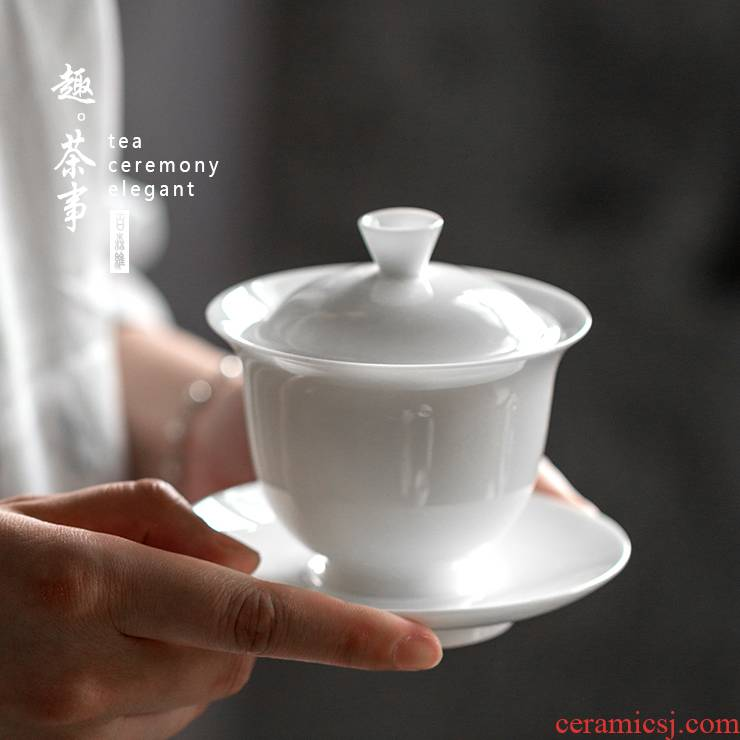 Babson d dehua white porcelain tureen suet jade ceramic cups footed three bowls of kung fu tea home