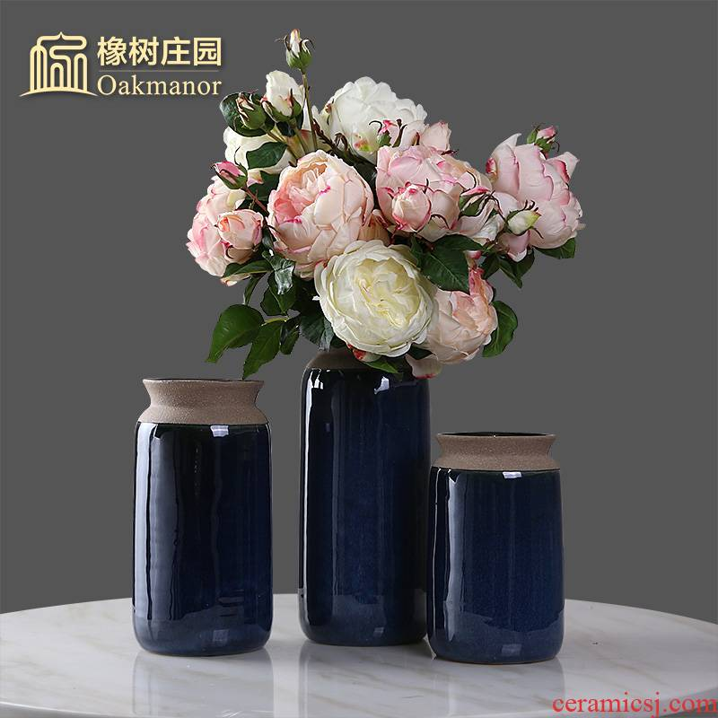 Chinese ceramic vases, flower arranging dried flowers, American TV ark, place of the sitting room porch table Chinese style household ornaments