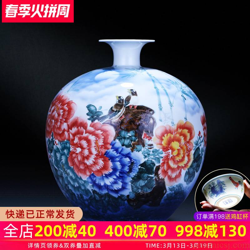 Jingdezhen ceramics hand - made wealth and auspicious pomegranate big vase modern Chinese style household living room TV ark, furnishing articles