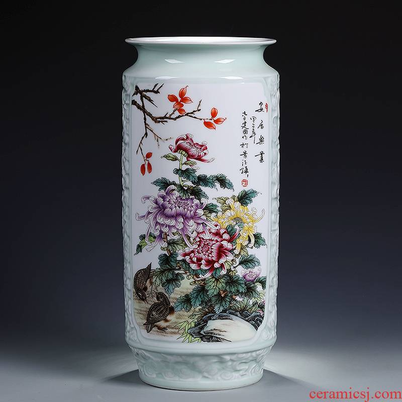 Jingdezhen ceramics craft embossed painting and calligraphy tube of calligraphy and painting scroll of large cylinder vase sitting room office furnishing articles