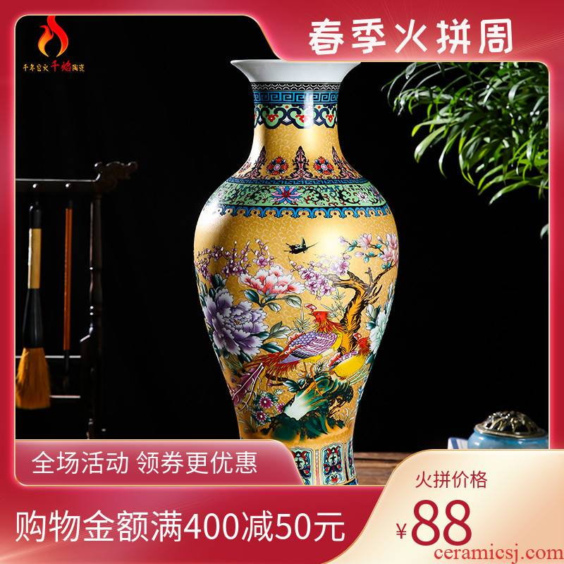 Jingdezhen ceramics European - style colored enamel large vases, flower arrangement of modern Chinese style living room TV ark adornment furnishing articles
