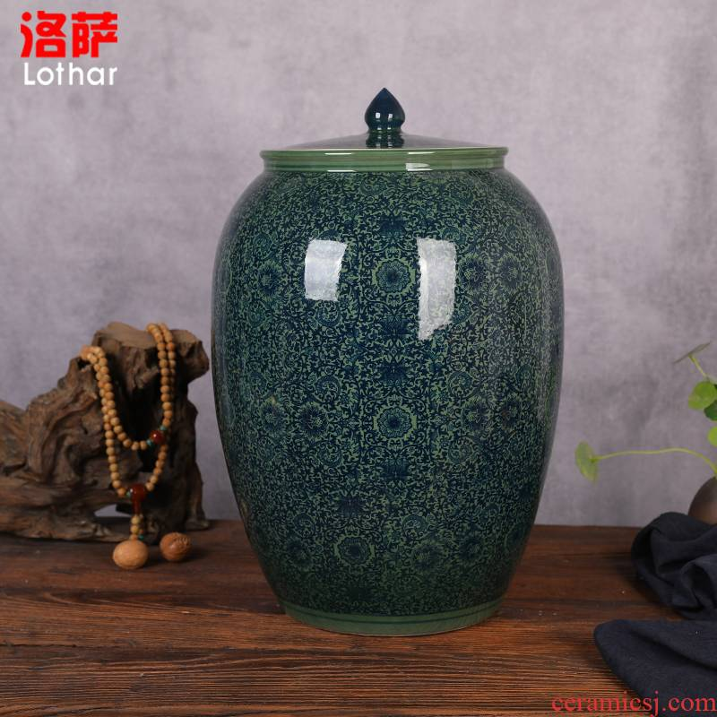 Jingdezhen ceramic barrel storage box tea meter box of oil cylinder ricer box kg30 20 jins 50 kg sealed with cover tank