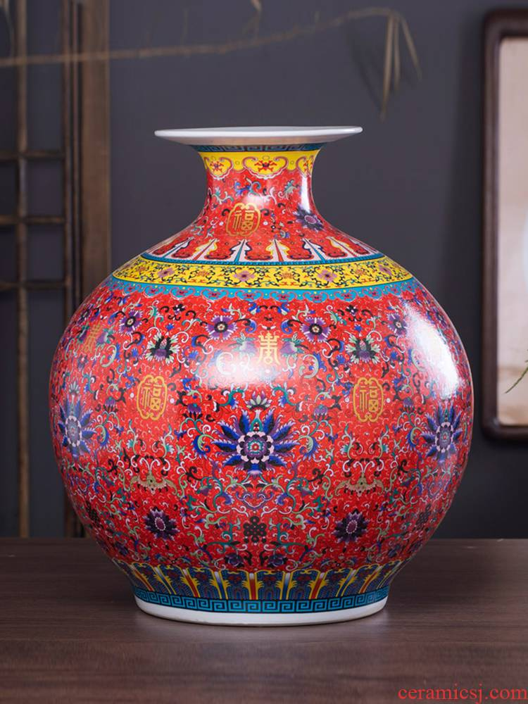 Archaize of jingdezhen ceramics colored enamel vase flower arranging the sitting room of Chinese style household adornment pomegranate bottles of furnishing articles