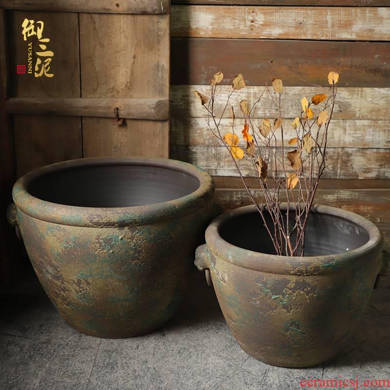 The Head of archaize ceramic VAT coarse pottery aquarium landing place courtyard garden hand round the altar tank big flower pot