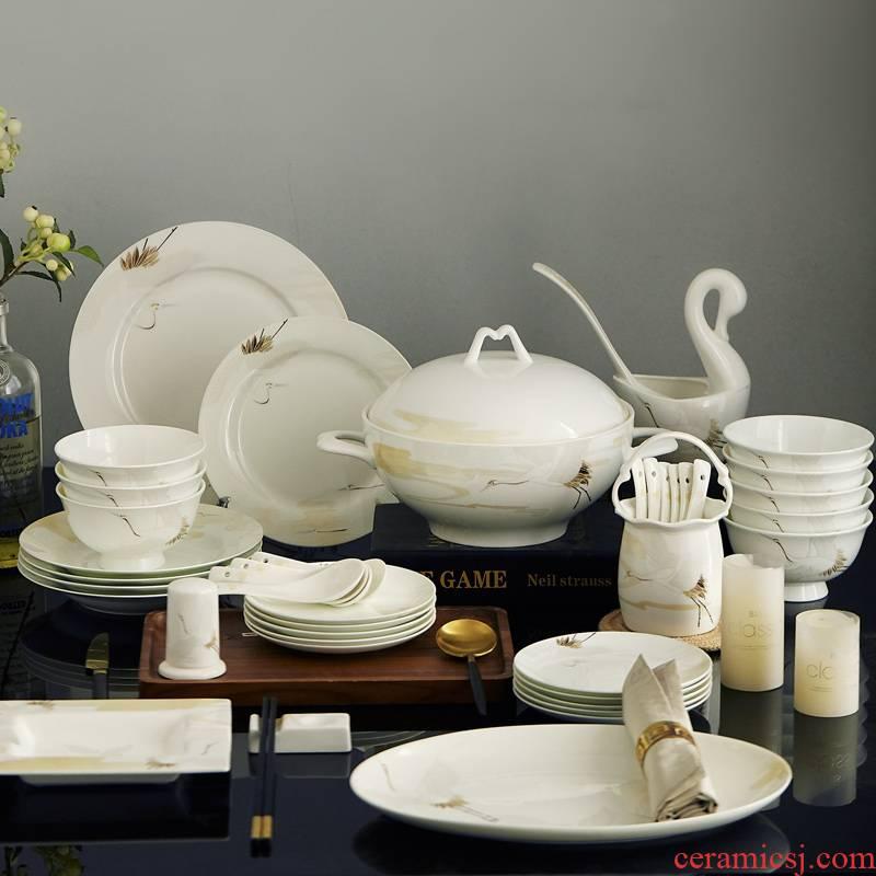 Eat dishes suit set bowl plate 60 head contracted household bowls of jingdezhen ceramic composite ceramics tableware
