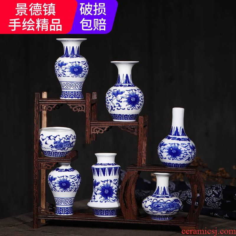 Jingdezhen ceramic antique hand - made mini blue floret bottle rich ancient frame furnishing articles flower creative household act the role ofing is tasted