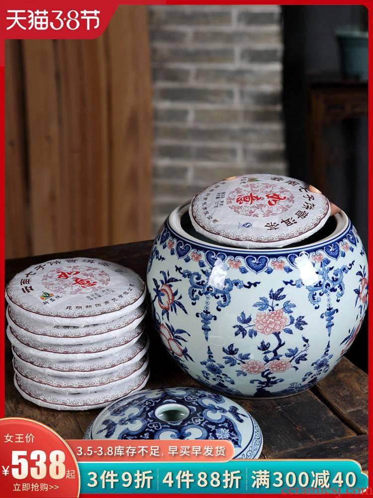 Loyo furnishing articles antique blue and white porcelain of jingdezhen ceramics pu 'er tea pot storage tank is household decoration