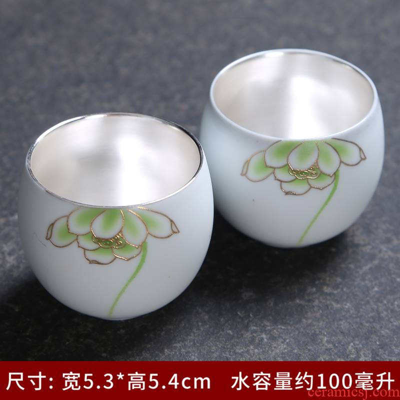 Sterling silver cup silver cup 999 bladder jingdezhen porcelain craft kung fu tea tasted silver gilding single cup sample tea cup