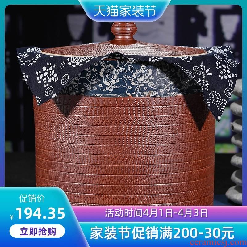 Jingdezhen ceramic checking tea pot receives puer tea cake jar airtight tea cake big detong tea set
