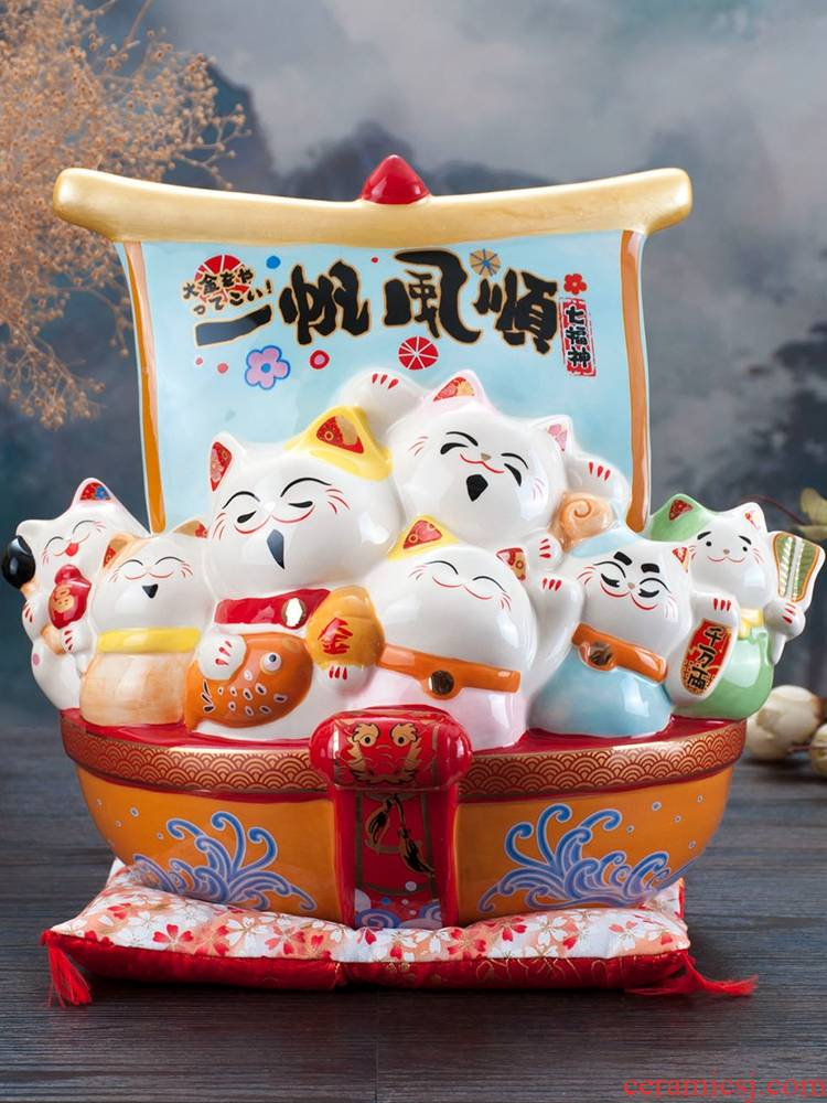 Plutus cat furnishing articles the opened store checkout large ceramic piggy bank treasure ships get rich cat home sitting room gifts