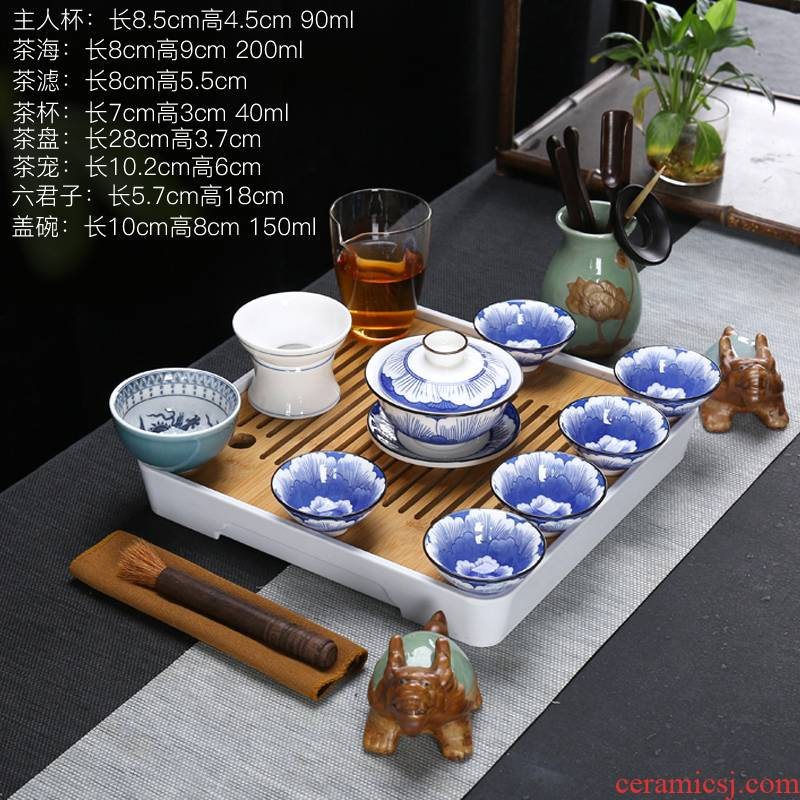 Dehua white porcelain tea set suet jade white porcelain tea set tea tureen tea cups a complete set of the home of kung fu tea set