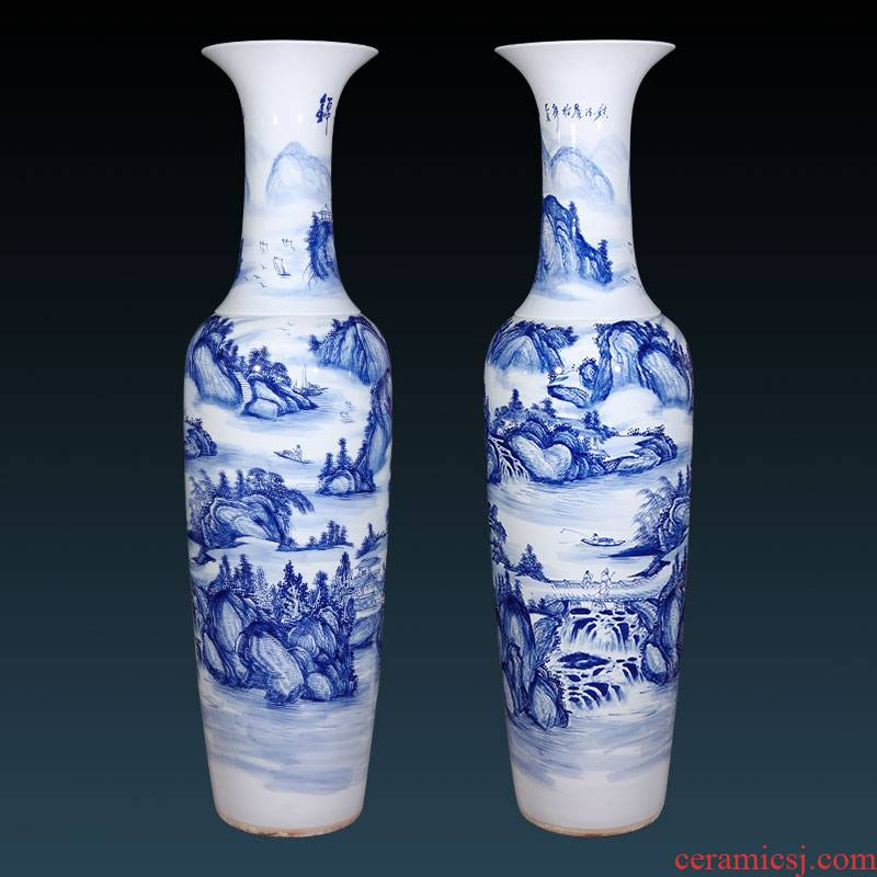Jingdezhen ceramics hand - made archaize of large blue and white porcelain vase Chinese style living room hotel villa decorations