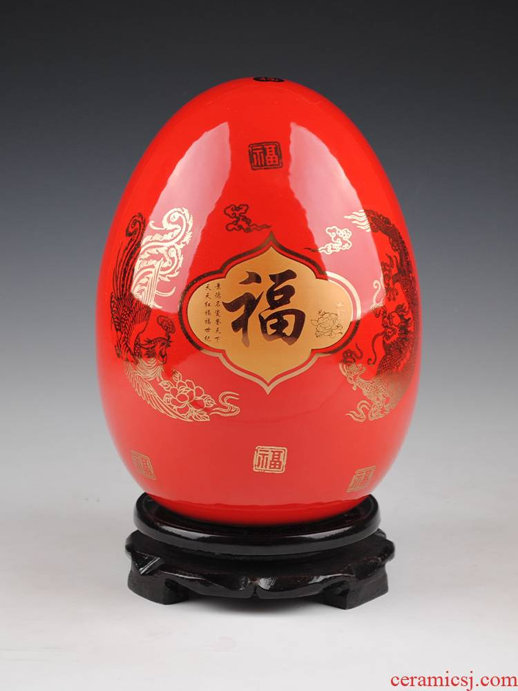 Jingdezhen ceramics vase furnishing articles sitting room red flower arranging longfeng f egg vase of porcelain of modern home decoration