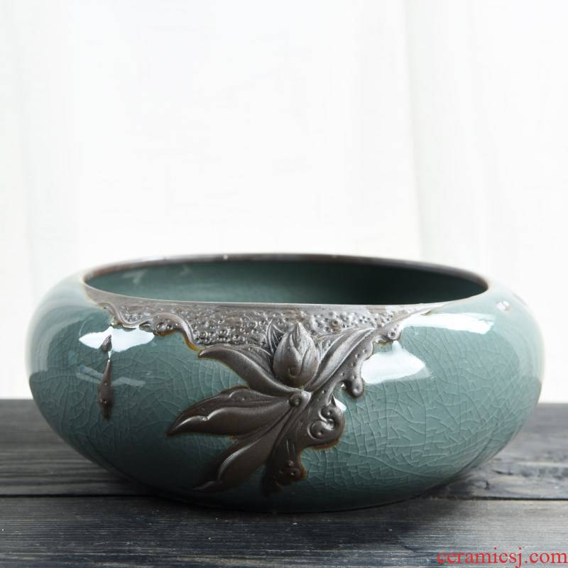 The Leaf of the lotus copper grass flower pot daffodil water lily bowl lotus non - porous ceramics special clearance hydroponic more large meat
