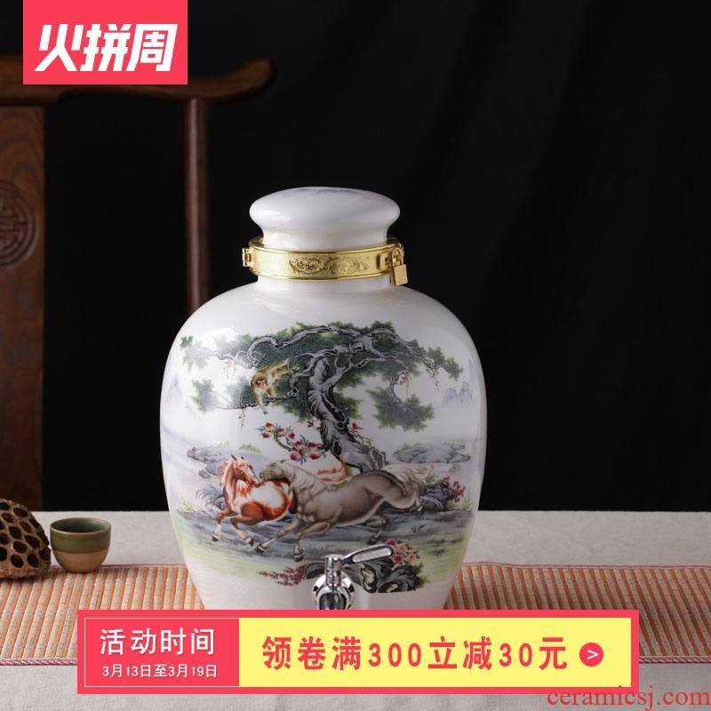 Ceramic jars with hip 10 jins wine liquor bottle wine jar waxberry wine