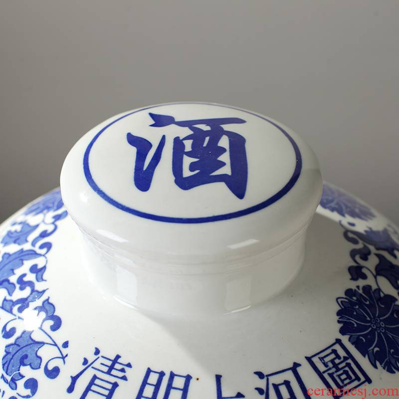 Jingdezhen blue and white porcelain jars ceramic bottle home wine into 10 jins 50 kg sealed empty wine tanks have the dragon 's head