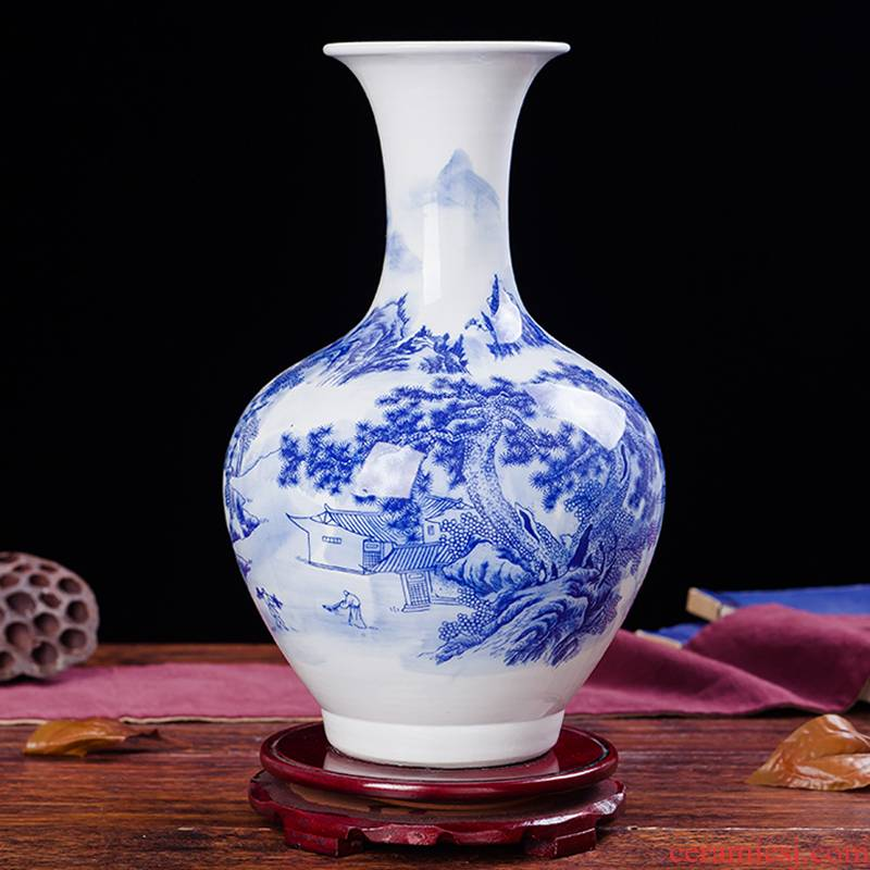 Jingdezhen ceramics landscape paintings of blue and white porcelain vases, the sitting room TV ark, wine decorations furnishing articles household act the role ofing is tasted