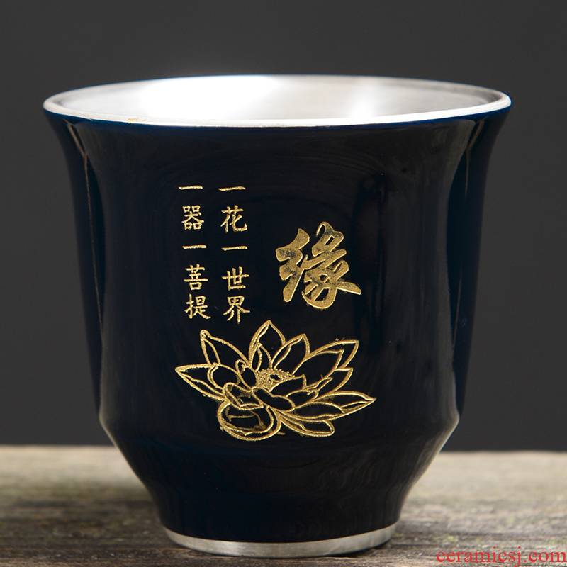 999 silver mine loader bladder ceramic cups silver colored enamel coppering. As kung fu tea master cup single cup large silver cup