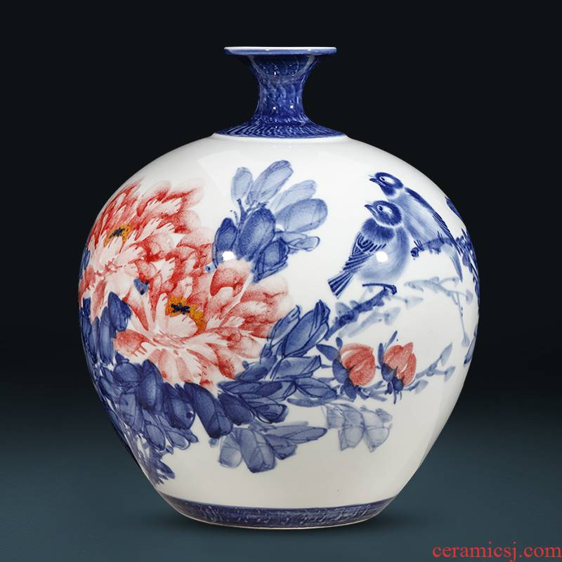 Jingdezhen blue and white peony famous hand - made ceramics vase household of Chinese style of the sitting room porch decoration furnishing articles