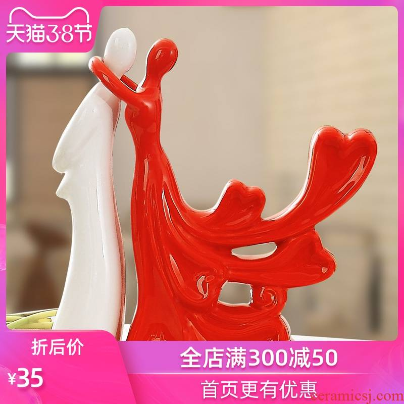 Chinese valentine 's day wedding anniversary gifts home sitting room adornment handicraft wine creative ceramic lovers furnishing articles