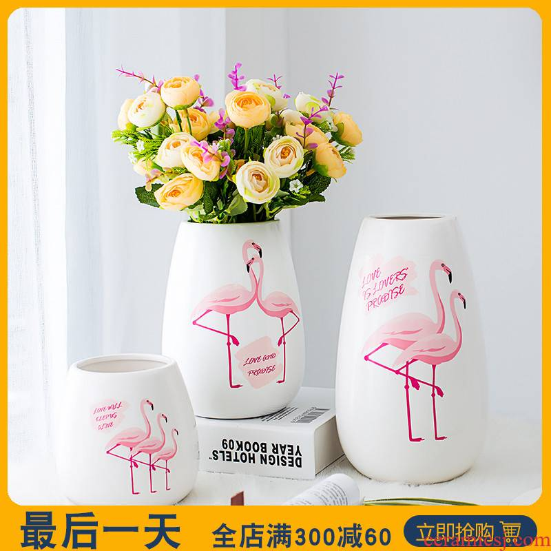 Like a flower contracted household ceramic vases, small pure and fresh and dried flowers, flower arrangement sitting room creative ins wind decorative furnishing articles