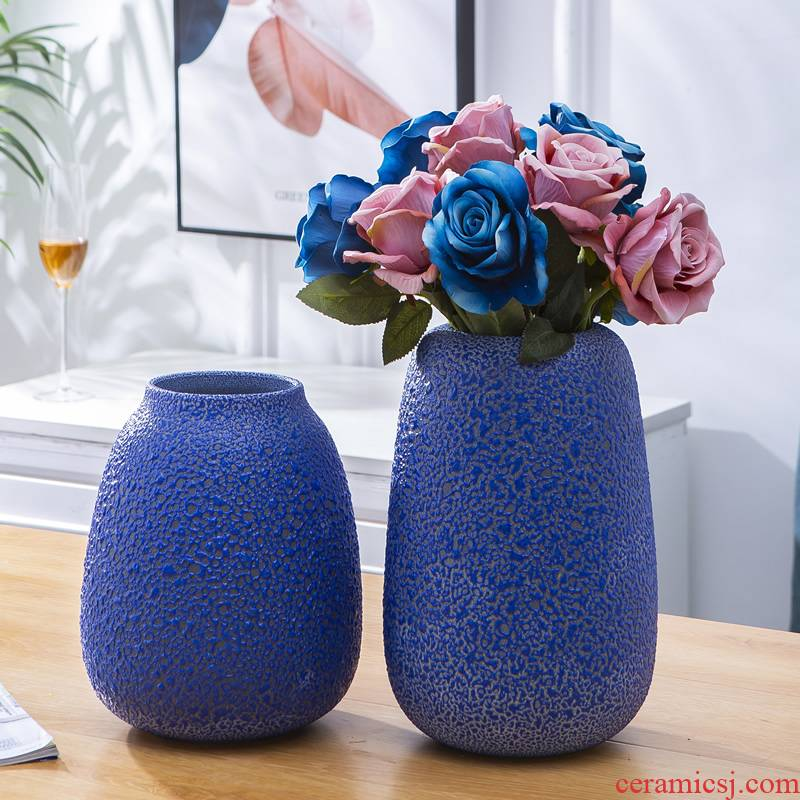 Jingdezhen ceramic vase furnishing articles Nordic dried flowers flower arrangement table sitting room is decorated creative contracted blue flowers