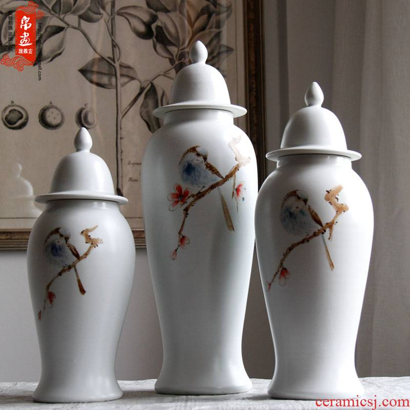 Jingdezhen ceramic vase furnishing articles sitting room flower arranging hand - made ornaments home sitting room porch xi on the branches is received