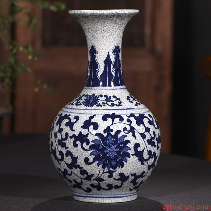 Antique vase of blue and white porcelain of jingdezhen ceramics furnishing articles sitting room flower arranging Chinese style restoring ancient ways household decorative arts and crafts