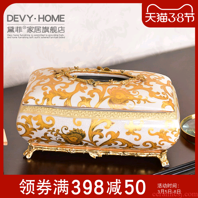 American European - style key-2 luxury ceramic metal tissue boxes sitting room, dining - room smoke box household light tea table to receive key-2 luxury decoration