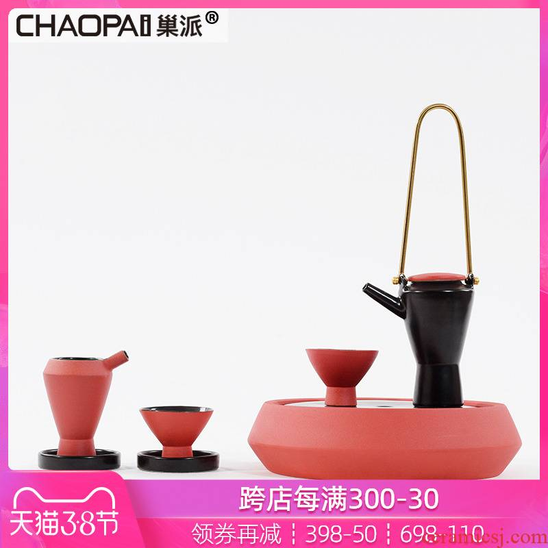 New Chinese style red ceramic tea set example room decoration soft furnishing articles creative Japanese teahouse tea table decorations
