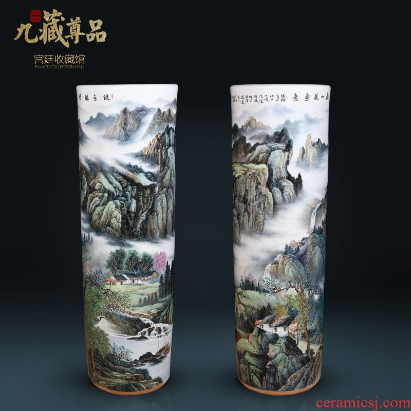 Jingdezhen ceramic dong - Ming li hand - made the master of landscape painting quiver Chinese style villa hotel, sitting room of large vase