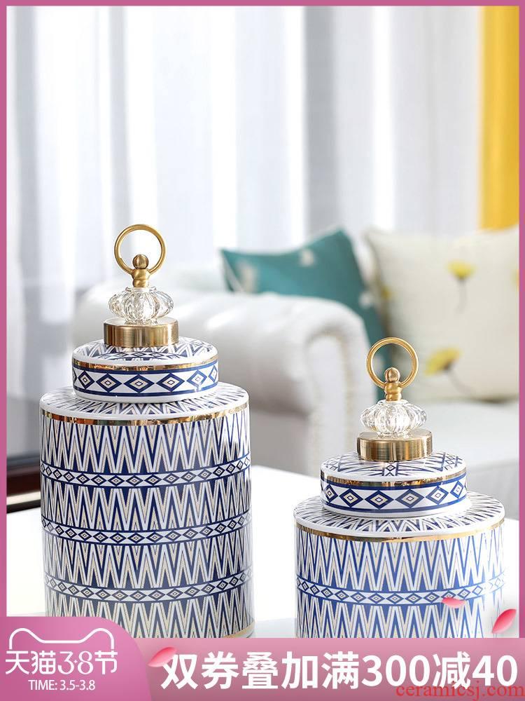 American ceramic pot light the key-2 luxury of modern European example room living room home decoration wine storage tank vase furnishing articles