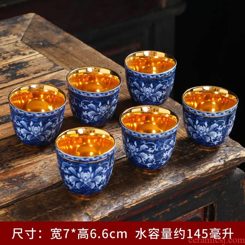 Jingdezhen blue and white porcelain teacup ceramic cups single CPU master cup kung fu tea tea set, the bowl sample tea cup