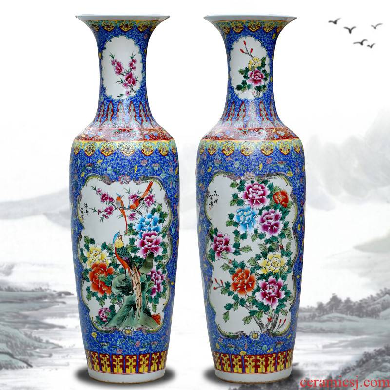 Jingdezhen ceramic hand - made pastel of large vase home sitting room decoration in modern Chinese style hotel decoration furnishing articles