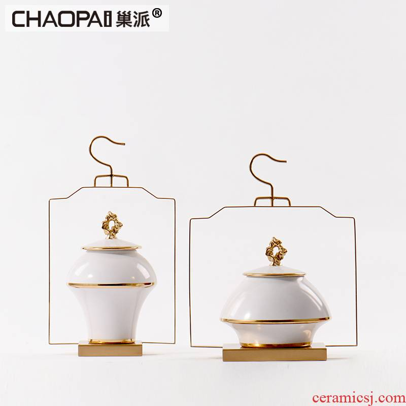 New classical contracted white ceramic bottle furnishing articles hotel villa hallway porch decoration can of small family furniture soft outfit