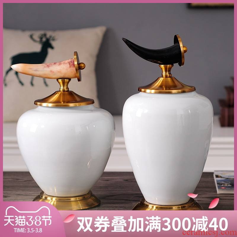 European style living room TV cabinet furnishing articles household act the role ofing is tasted metal ceramic vase modern example room soft outfit new gifts