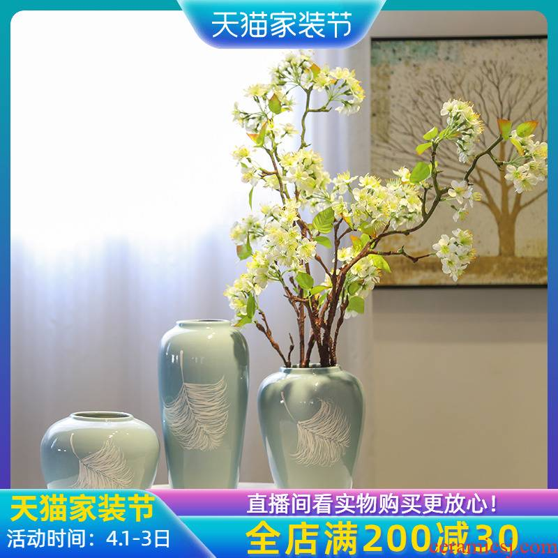 Jingdezhen ceramic checking painting mesa vase club show new Chinese style adornment flowers in the living room small place
