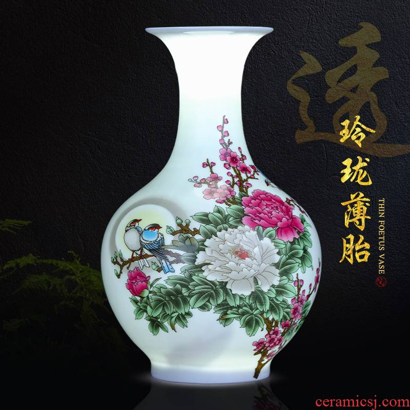Rich ancient frame furnishing articles of jingdezhen ceramics floret bottle of modern new Chinese style household wine sitting room decoration process
