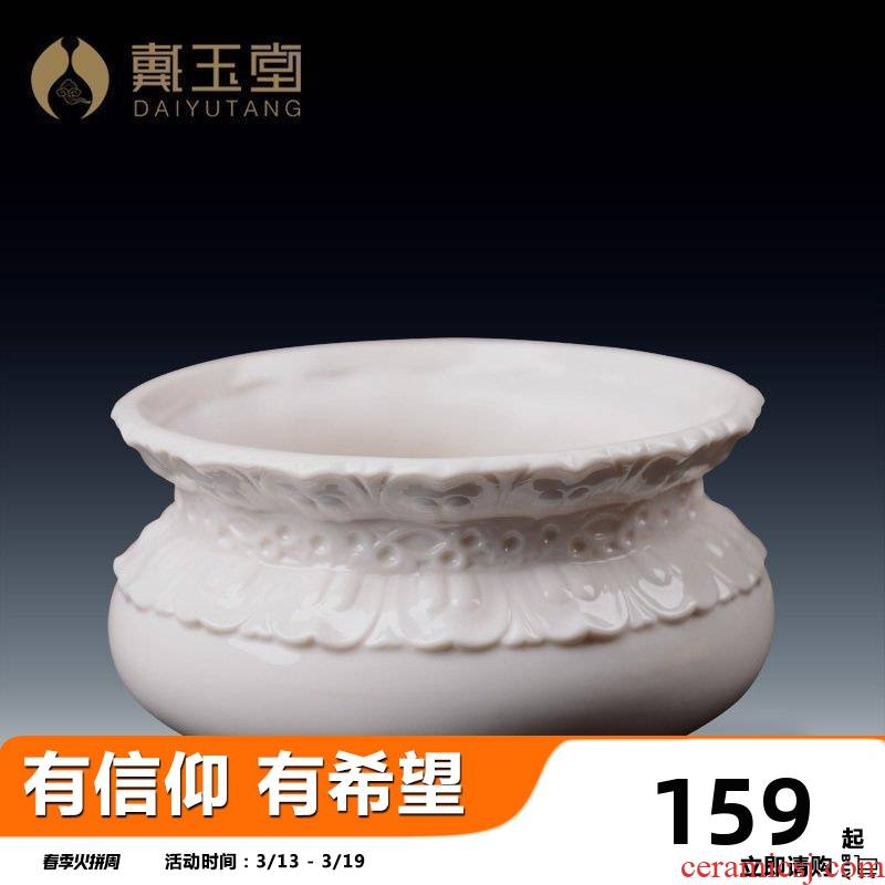 Yutang dai dehua white porcelain home furnishing articles indoor incense holder inserted consecrate Buddha with supplies relief incense bowl of incense buner