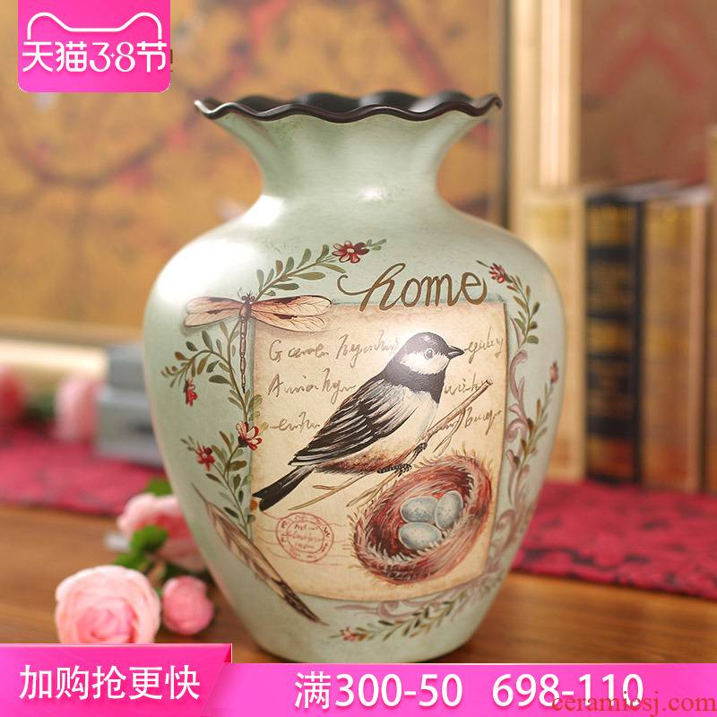 Europe type restoring ancient ways of ceramic vases, flower arranging furnishing articles American creative living room table flowers dried flower decoration of the new Chinese style set