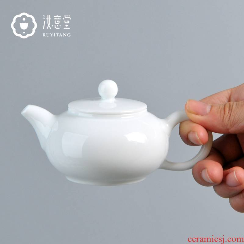 Kung fu tea set a single teapot jingdezhen porcelain teapot flat belly pot of Chinese antique small single pot hand celadon