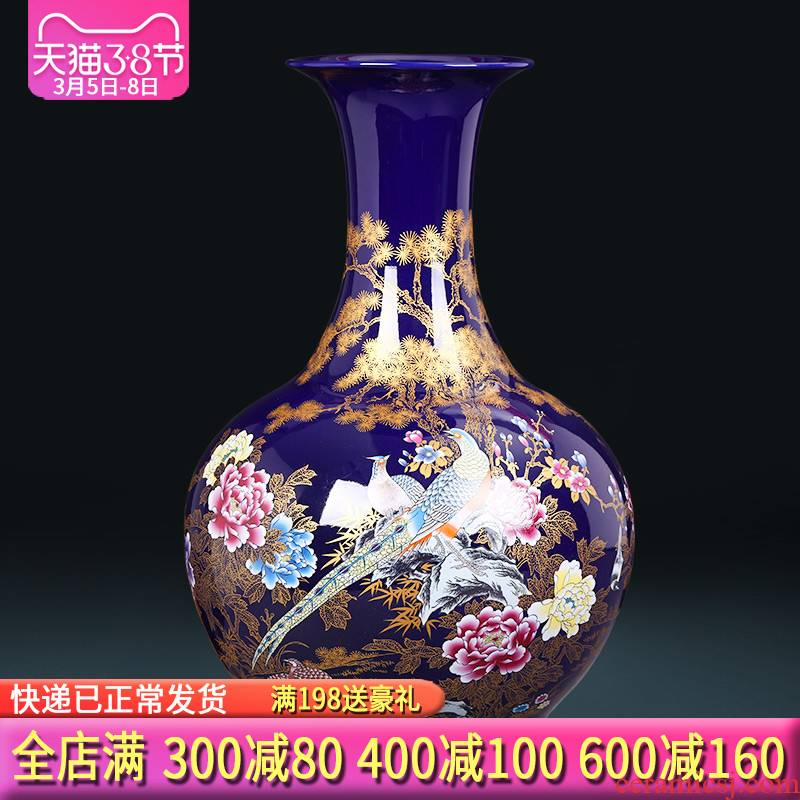 Jingdezhen ceramics of large vases, flower arranging large new Chinese style home sitting room adornment TV ark, furnishing articles