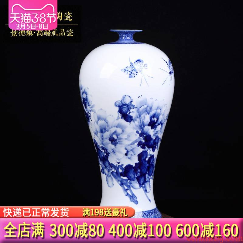 Famous master of jingdezhen ceramics hand - made Chinese blue and white porcelain vases, flower arrangement sitting room porch TV ark, furnishing articles