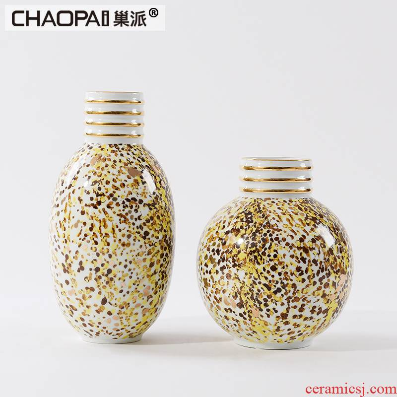 Nest sent yellow spots of new Chinese style ceramic pot is placed between postmodern example porch ark general bottles of soft decoration